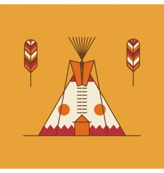 Traditional native american tipi and feathers vector image