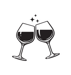 two glasses wine cheers with wineglasses vector image