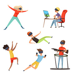 virtual reality gamer funny and happy characters vector image