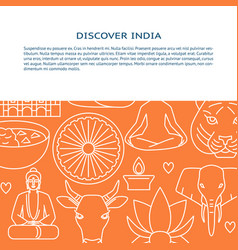 visit india concept banner template in thin line vector image