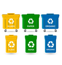 Waste bin set vector