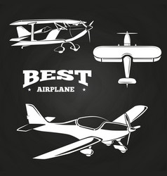 White airplanes collection on chalkboard design vector