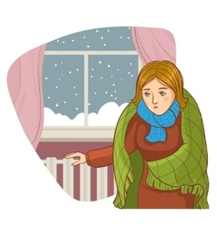 Woman in the cold apartment checks radiator vector