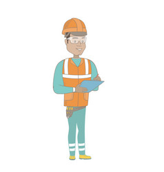 Young hispanic building inspector with clipboard vector