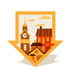 Cityscape navigation marker with cute colorful vector image vector image