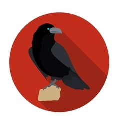 Crow of viking god icon in flat style isolated on vector image vector image