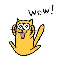 funny orange cat tik enjoys vector image vector image