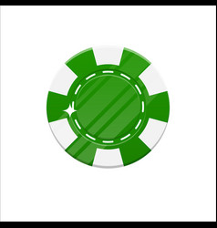 green casino chip cartoon style isolated vector image vector image