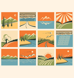 Nature landscape icons set of symbols vector