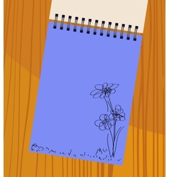 notebook with flowers vector image vector image