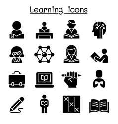 Study learning education icon set graphic design vector
