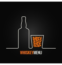 whiskey glass bottle menu background vector image vector image