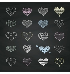 Chalk Drawing Heart Shapes with Doodle vector image
