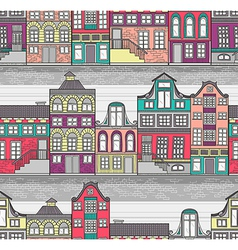 Cute Amsterdam houses seamless pattern vector image