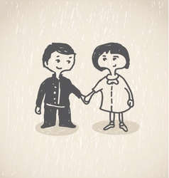 In loveBoy and girl holding hands vector image vector image