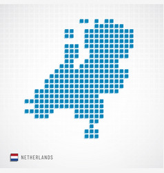 Netherlands map and flag icon vector