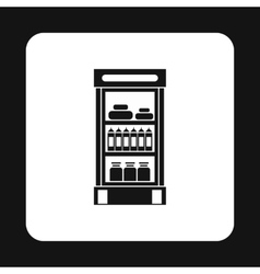 Refrigerator showcase with dairy products icon vector image