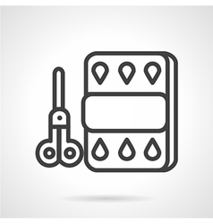 Scissors and paper line icon vector image vector image