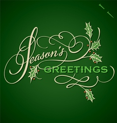 SEASONS GREETINGS hand lettering vector image vector image