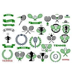 Tennis sport game icons and symbols vector