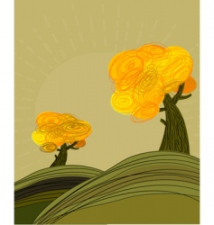 Autumn landscape with golden trees vector