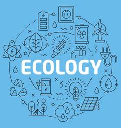 blue line flat circle ecology vector image