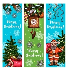 Christmas banner set with Santa gift xmas tree vector image