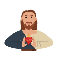 jesus christ with sacred heart vector image vector image