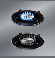 kitchen gas stove on stainless steel floor vector image