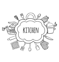 Kitchen tools sketch bubbles vector image vector image