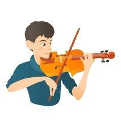 Man plays on violin icon flat style vector image vector image