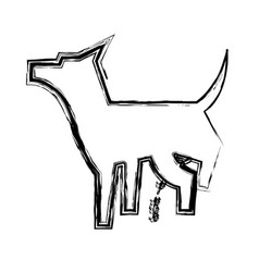 pet dog peeing mascot silhouette vector image