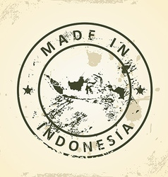 Stamp with map of Indonesia vector image