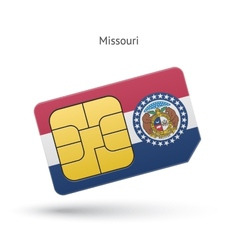 State of Missouri phone sim card with flag vector image vector image