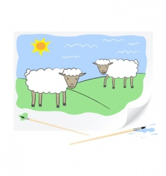 drawing sheep's vector image vector image