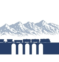 Freight Train over mountains vector image vector image