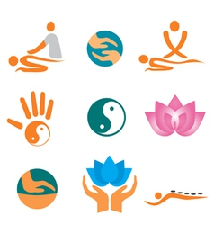 icons of massage vector image vector image