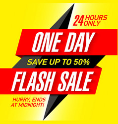 One day flash sale banner design template vector