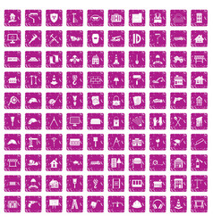 100 construction icons set grunge pink vector