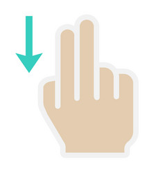 2 finger swipe down flat icon touch and gesture vector