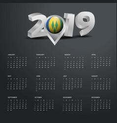 2019 calendar template grey typography with saint vector