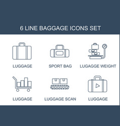 6 baggage icons vector