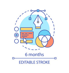 6 months subscription concept icon vector