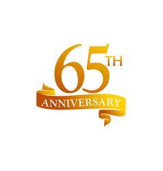 65 year ribbon anniversary vector image