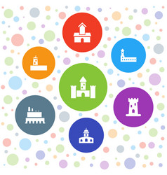 7 interest icons vector image