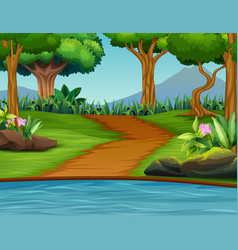 a beautiful green nature landscape background vector image