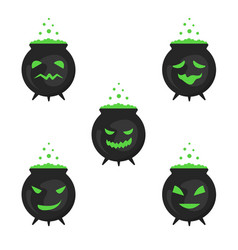 A set of boiling boilers for halloween vector
