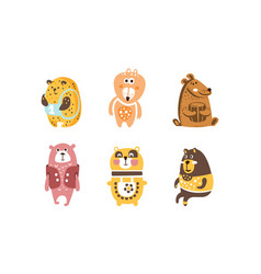 adorable bears set cute lovely wild animals vector image