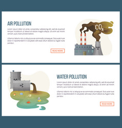 air and water pollution environmental problem vector image