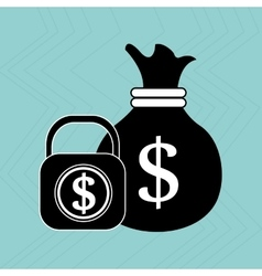 Bag money padlock dollar vector